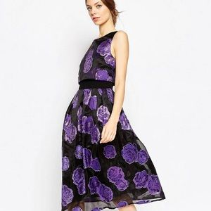 NWT Asos Purple Organza Flower Crop Top Midi US6